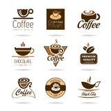 Kaffe, espresso, varm choklad och tesymbolen ställde in. royaltyfri illustrationer
