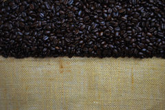 kaffe för bönaburlapclose upp Royaltyfri Foto