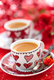 Kaffe för den Valentine's dagen Royaltyfri Fotografi