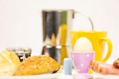 Kaffe för frukostbrödägg  Arkivbilder