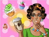 Kaffe för kvinna för afrikansk amerikan för vektorpopkonst hållande som går vektor illustrationer