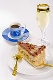 kaffe för cakechampagnehalva Royaltyfri Fotografi