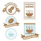 kaffe fem inställda logoer Arkivfoto