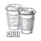 kaffe går till stock illustrationer