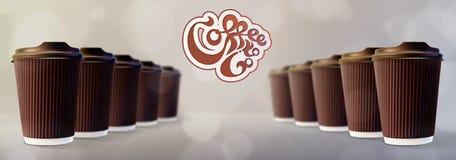 kaffe går till Kaffekrusningen kuper Bokeh Gray Background Fotografering för Bildbyråer