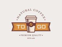 kaffe går till Vektorkaffelogo vektor illustrationer