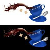 Kaffe i blåttkopp stock illustrationer