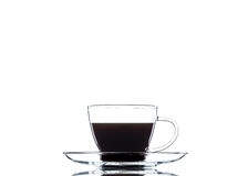 Kaffe in i en genomskinlig uppsättning Royaltyfri Foto