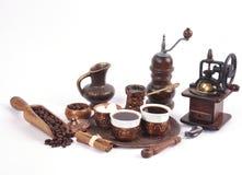 Kaffe i kopparkustfartyg med tillbehör för kaffe-dricka nolla Arkivbild