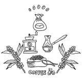 Kaffe illustratören för illustrationen för handen för borstekol gör teckningen tecknade som look pastell till traditionellt vekto Arkivbilder