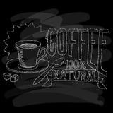 kaffe isolerad menywhite Krita på en blackboard också vektor för coreldrawillustration Royaltyfri Foto