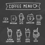 kaffe isolerad menywhite Kritateckning på en svart tavla stock illustrationer