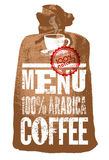 kaffe isolerad menywhite Typografisk retro affisch för restaurang, kafé eller kafé också vektor för coreldrawillustration Royaltyfri Bild