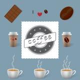 kaffe isolerad set white Fotografering för Bildbyråer