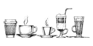 kaffe isolerad set white vektor illustrationer