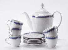 kaffe isolerad set white Royaltyfria Bilder