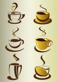Kaffe kuper beståndsdelar och samlingen Arkivfoto