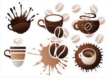 Kaffe kuper fastställda symboler stock illustrationer