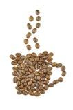 Cup gjorde från kaffebönor. Begrepp. Arkivfoto