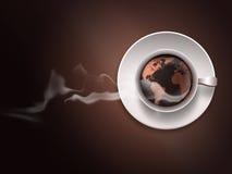 Kaffe kuper med en värld kartlägger royaltyfri illustrationer