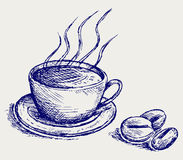 Kaffe kuper och bönor vektor illustrationer