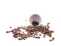 Kaffe kuper och kaffebönor Royaltyfria Foton