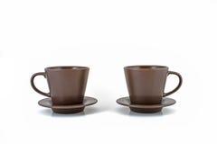 Kaffe kuper och saucers Royaltyfri Foto