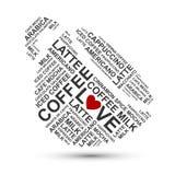 Kaffe kuper typografimolnet Arkivfoto