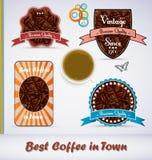 kaffe märker stiltappning royaltyfri illustrationer