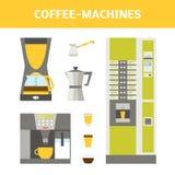 Kaffe-maskiner uppsättning Stock Illustrationer
