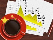 Kaffe med den kinesiska flaggan och börsen kartlägger att ligga på skrivbordet stock illustrationer