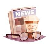 Kaffe med en tidning och exponeringsglas Inskriften av rött färgar lokaliserat över text av vit färgar Arkivfoton