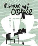 Kaffe med ett fönster royaltyfri illustrationer