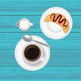 Kaffe med gifflet Top beskådar Royaltyfri Fotografi