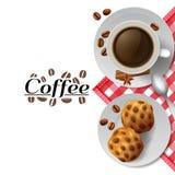 Kaffe med kakafrukostsammansättning royaltyfri illustrationer