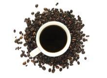 Kaffe med lösa bönor Arkivbild