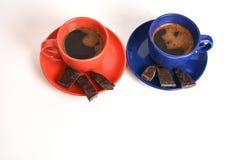 Kaffe med mörk choklad Arkivbilder