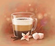 Kaffe med marshmallows vektor illustrationer