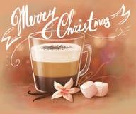 Kaffe med marshmallows stock illustrationer