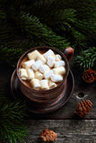 Kaffe med marshmallows Royaltyfri Fotografi