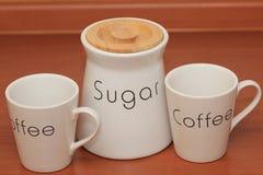 Kaffe med socker arkivfoton