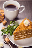 Kaffe med tårtan Royaltyfri Fotografi