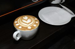 Kaffe med teckningen Kaffeskum Arkivbild