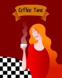 kaffe mer tid royaltyfri illustrationer
