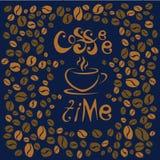 kaffe mer tid bokstäver på blå bakgrund Kaffe kuper symboliskt Fotografering för Bildbyråer