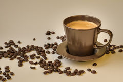 Kaffe och bönor Fotografering för Bildbyråer
