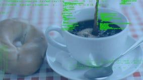 Kaffe och bagel stock video