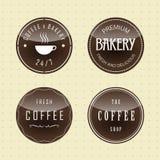 Kaffe och bageriemblem- och etikettuppsättning Royaltyfri Fotografi