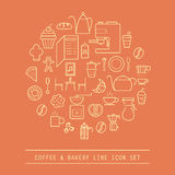 kaffe- och bagerilinje symbol royaltyfri illustrationer