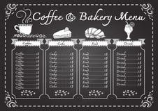 Kaffe- och bagerimeny på svart tavlamall vektor illustrationer